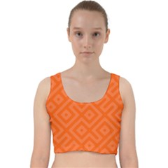Orange Maze Velvet Racer Back Crop Top