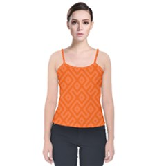 Orange Maze Velvet Spaghetti Strap Top