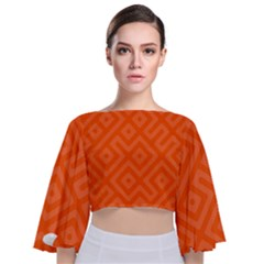 Orange Maze Tie Back Butterfly Sleeve Chiffon Top