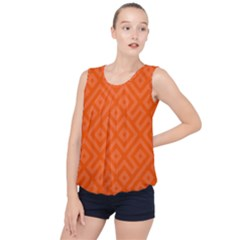 Orange Maze Bubble Hem Chiffon Tank Top by retrotoomoderndesigns