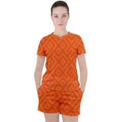 Orange Maze Women s Tee and Shorts Set