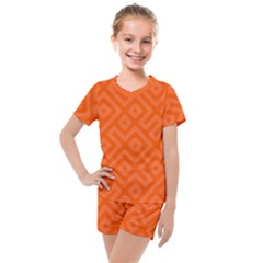 Orange Maze Kids  Mesh Tee and Shorts Set