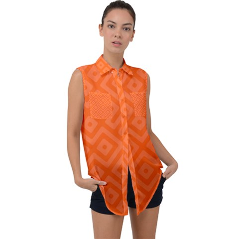 Orange Maze Sleeveless Chiffon Button Shirt by retrotoomoderndesigns