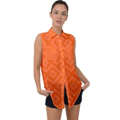 Orange Maze Sleeveless Chiffon Button Shirt