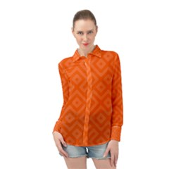 Orange Maze Long Sleeve Chiffon Shirt