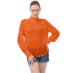 Orange Maze High Neck Long Sleeve Chiffon Top