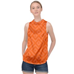 Orange Maze High Neck Satin Top