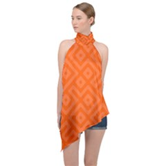 Orange Maze Halter Asymmetric Satin Top
