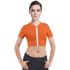Orange Maze Short Sleeve Cropped Jacket