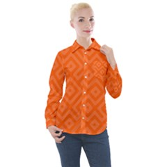 Orange Maze Women s Long Sleeve Pocket Shirt