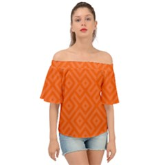 Orange Maze Off Shoulder Short Sleeve Top