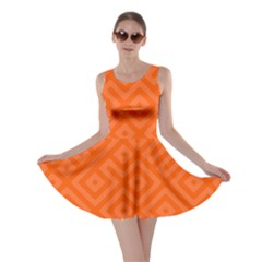 Orange Maze Skater Dress
