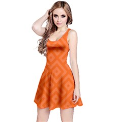 Orange Maze Reversible Sleeveless Dress