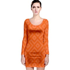Orange Maze Long Sleeve Bodycon Dress by retrotoomoderndesigns