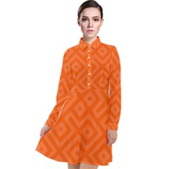 Orange Maze Long Sleeve Chiffon Shirt Dress