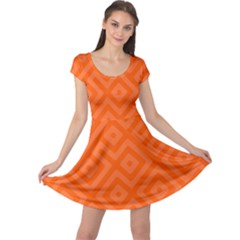 Orange Maze Cap Sleeve Dress