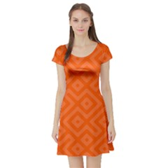Orange Maze Short Sleeve Skater Dress