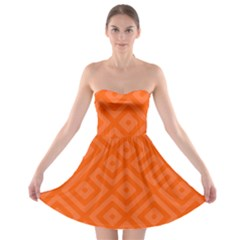 Orange Maze Strapless Bra Top Dress