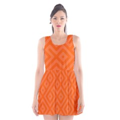Orange Maze Scoop Neck Skater Dress