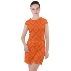 Orange Maze Drawstring Hooded Dress