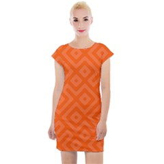 Orange Maze Cap Sleeve Bodycon Dress