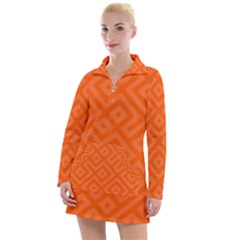 Orange Maze Women s Long Sleeve Casual Dress by retrotoomoderndesigns