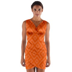 Orange Maze Wrap Front Bodycon Dress