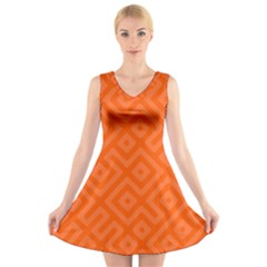 Orange Maze V-Neck Sleeveless Dress