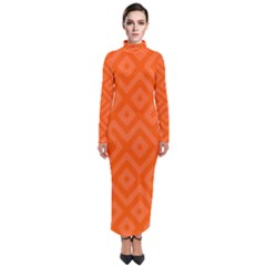 Orange Maze Turtleneck Maxi Dress