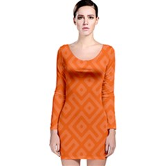 Orange Maze Long Sleeve Velvet Bodycon Dress