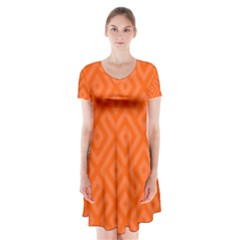 Orange Maze Short Sleeve V-neck Flare Dress