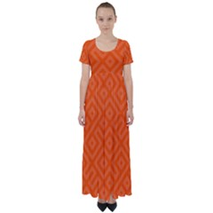 Orange Maze High Waist Short Sleeve Maxi Dress