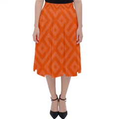 Orange Maze Classic Midi Skirt