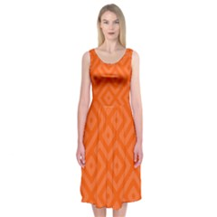 Orange Maze Midi Sleeveless Dress