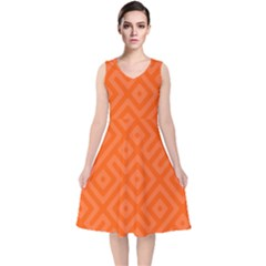 Orange Maze V-Neck Midi Sleeveless Dress
