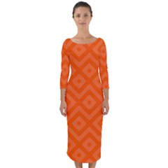 Orange Maze Quarter Sleeve Midi Bodycon Dress