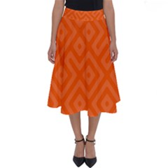Orange Maze Perfect Length Midi Skirt
