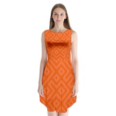 Orange Maze Sleeveless Chiffon Dress