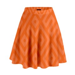 Orange Maze High Waist Skirt by retrotoomoderndesigns