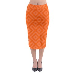 Orange Maze Midi Pencil Skirt