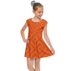 Orange Maze Kids  Cap Sleeve Dress by retrotoomoderndesigns