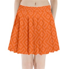 Orange Maze Pleated Mini Skirt