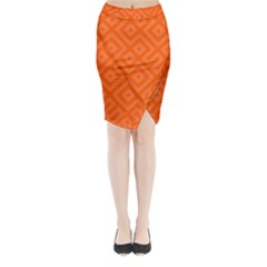 Orange Maze Midi Wrap Pencil Skirt