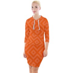 Orange Maze Quarter Sleeve Hood Bodycon Dress