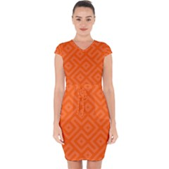 Orange Maze Capsleeve Drawstring Dress