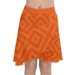 Orange Maze Chiffon Wrap Front Skirt