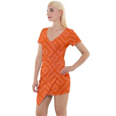 Orange Maze Short Sleeve Asymmetric Mini Dress