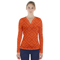 Orange Maze V-Neck Long Sleeve Top
