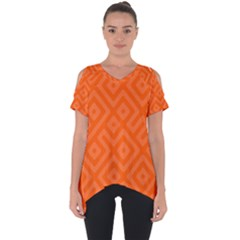 Orange Maze Cut Out Side Drop Tee