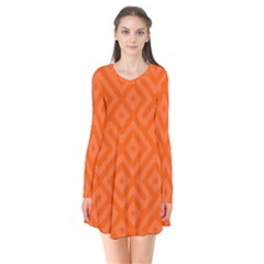 Orange Maze Long Sleeve V-neck Flare Dress